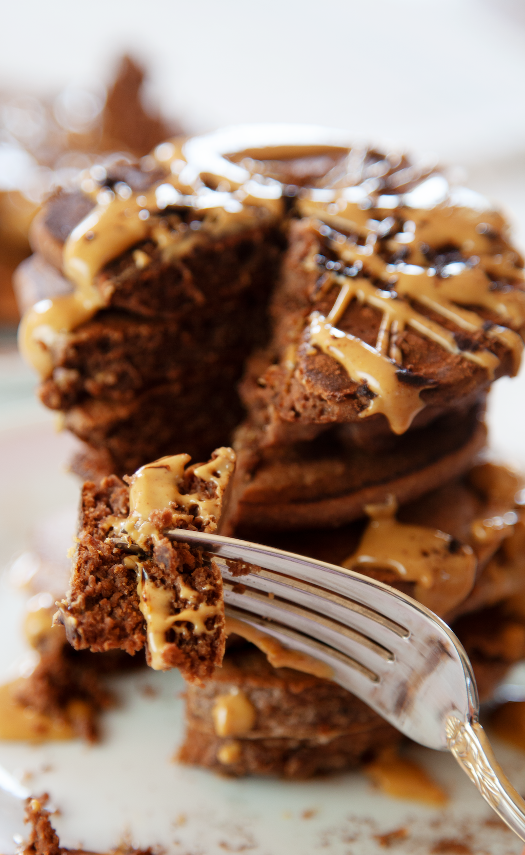 Chocolate Peanut Butter Pancakes - My Southern Sweet Tooth